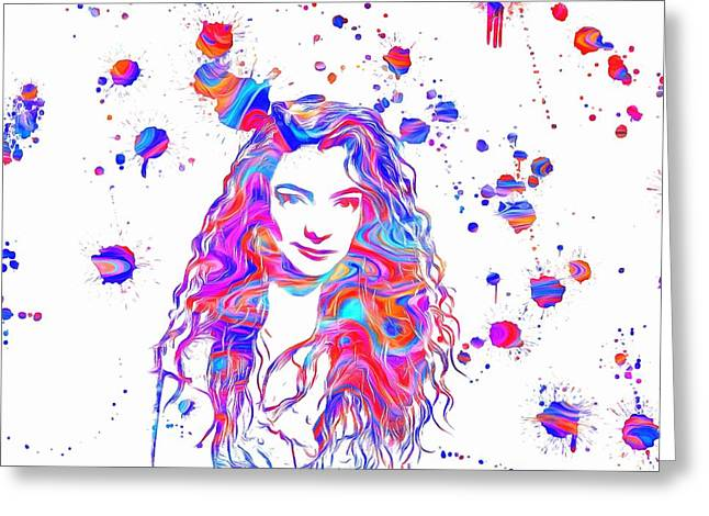 Dream Team Art Greeting Cards - Lorde Colorful Paint Splatter Greeting Card by Dan Sproul