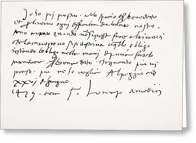 Sign Writing Greeting Cards - Lorenzo De  Medici, 1449 Greeting Card by Ken Welsh