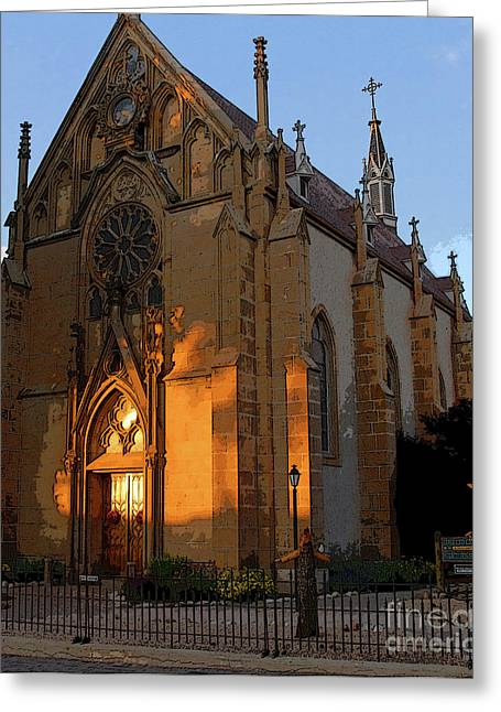 Santa Fe Digital Art Greeting Cards - Loretto Chapel 1878 Greeting Card by David Lee Thompson