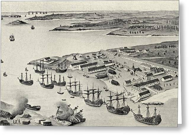 Division Drawings Greeting Cards - Lorient Port, Brittany, France Greeting Card by Vintage Design Pics