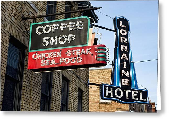 Lorraine Hotel Coffee Shop Greeting Card by Stephen Stookey