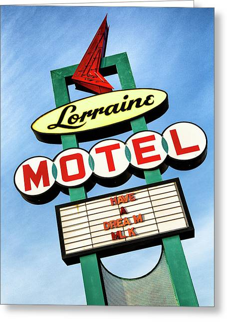 Civil Greeting Cards - Lorraine Motel Sign Greeting Card by Stephen Stookey