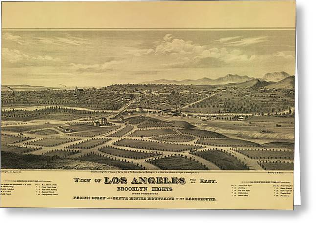 Los Angeles 1877 Greeting Card by Mountain Dreams