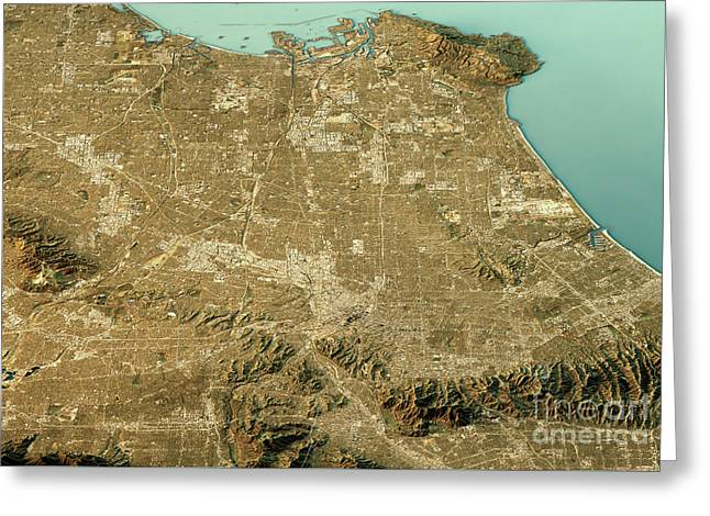 Los Angeles 3d Landscape View North-south Natural Color Greeting Card by Frank Ramspott