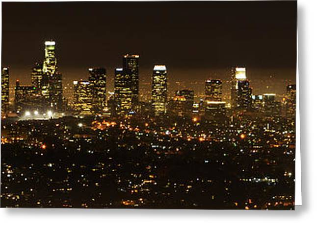 Famous Photographer Greeting Cards - Los Angeles At Night Panorama 2 Greeting Card by Bob Christopher