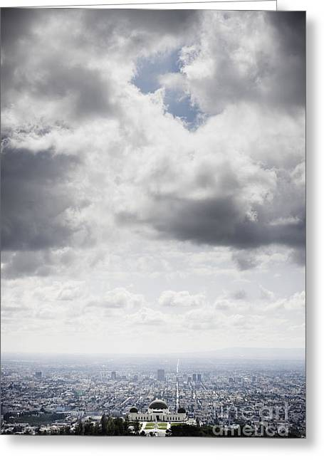Gray Building Greeting Cards - Los Angeles Beneath Cloudy Sky Greeting Card by Sam Bloomberg-rissman