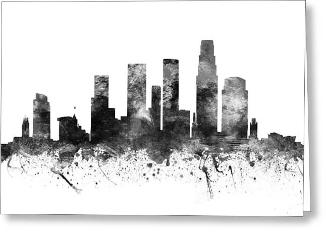 Skylines Drawings Greeting Cards - Los Angeles California Cityscape 02BW Greeting Card by Aged Pixel