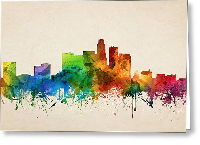 Los Angeles California Skyline 05 Greeting Card by Aged Pixel