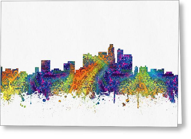 Los Angeles Skyline Greeting Cards - Los Angeles California skyline color03 Greeting Card by Aged Pixel