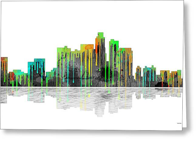 Popular Art Greeting Cards - Los Angeles California Skyline Greeting Card by Marlene Watson