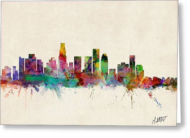 Cityscape Digital Art Greeting Cards - Los Angeles California Skyline Signed Greeting Card by Michael Tompsett