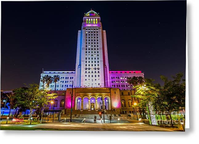 Urban Images Greeting Cards - Los Angeles City Hall Greeting Card by Art K