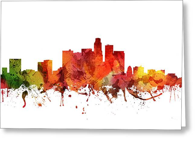 Skylines Drawings Greeting Cards - Los Angeles Cityscape 04 Greeting Card by Aged Pixel