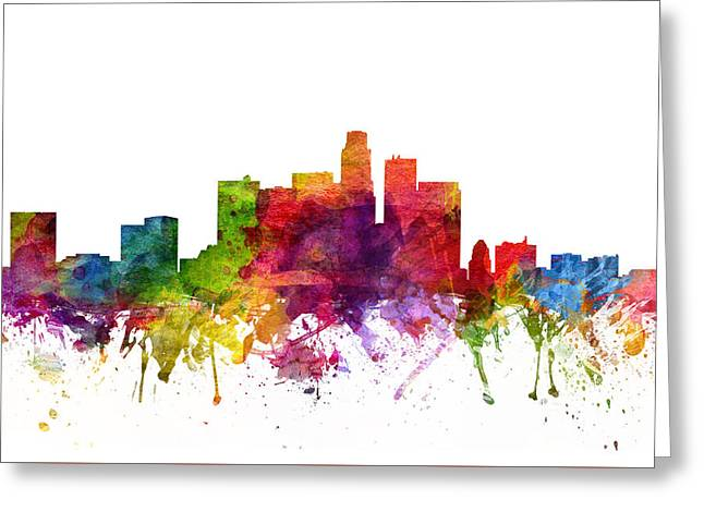 Skylines Drawings Greeting Cards - Los Angeles Cityscape 06 Greeting Card by Aged Pixel