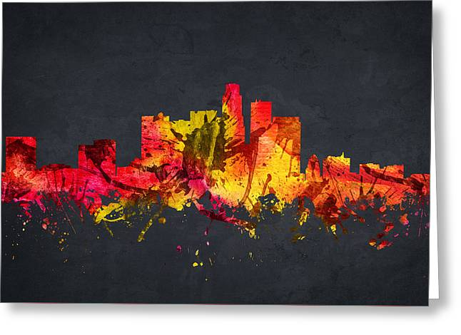 Skylines Drawings Greeting Cards - Los Angeles Cityscape 07 Greeting Card by Aged Pixel