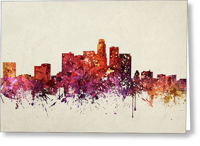 Skylines Drawings Greeting Cards - Los Angeles Cityscape 09 Greeting Card by Aged Pixel