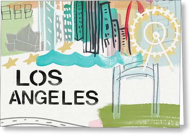 Ferris Wheel Greeting Cards - Los Angeles Cityscape- Art by Linda Woods Greeting Card by Linda Woods