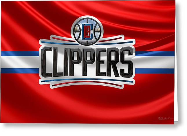 Los Angeles Clippers - 3 D Badge Over Flag Greeting Card by Serge Averbukh