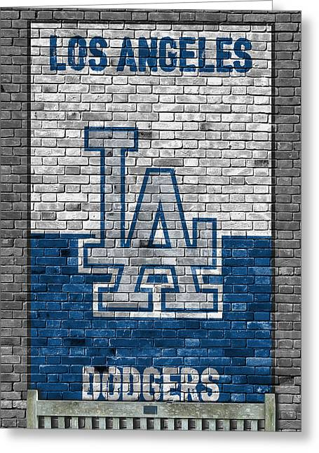 Los Angeles Dodgers Brick Wall Greeting Card by Joe Hamilton