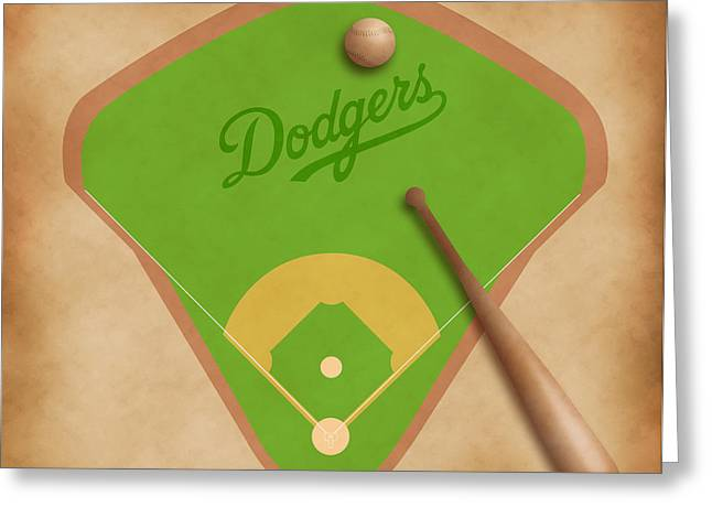 Offense Digital Art Greeting Cards - Los Angeles Dodgers Field Greeting Card by Carl Scallop