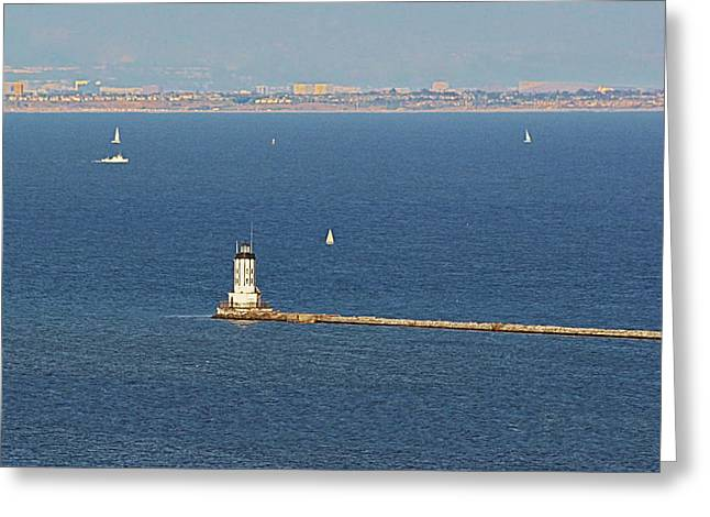 Overlook Greeting Cards - Los Angeles Harbor Light - Angels Gate - California Greeting Card by Christine Till
