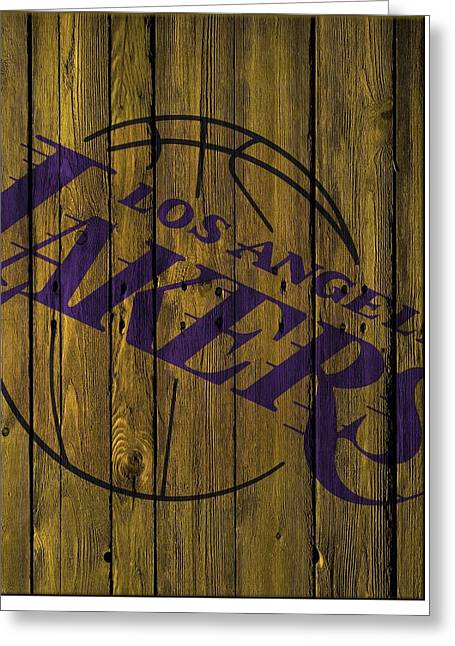 Los Angeles Lakers Wood Fence Greeting Card by Joe Hamilton