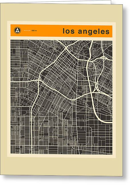 Abstract Retro Greeting Cards - Los Angeles Map Greeting Card by Jazzberry Blue