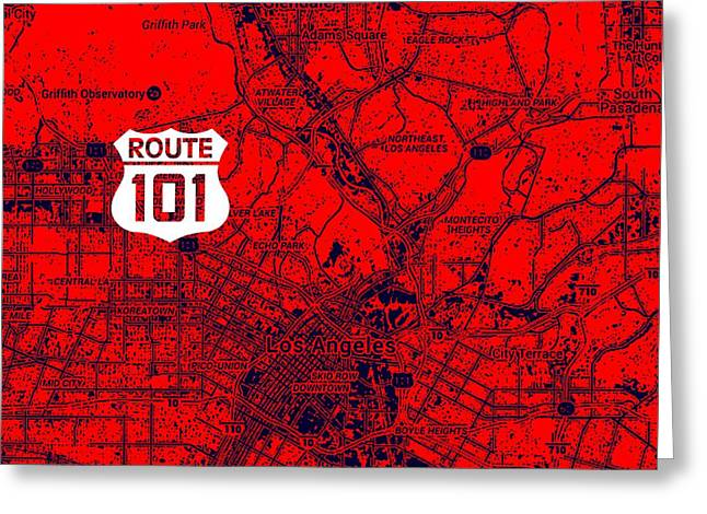 Los Angeles Map, Route 101 Greeting Card by Pablo Franchi