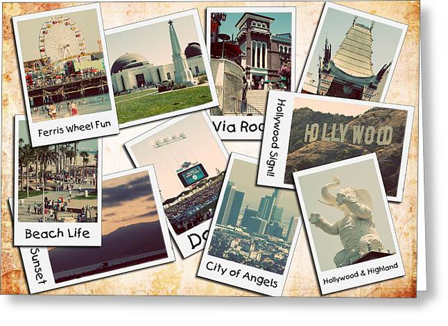 Baseball Art Photographs Greeting Cards - Los Angeles Polaroid Collage Greeting Card by Ricky Barnard