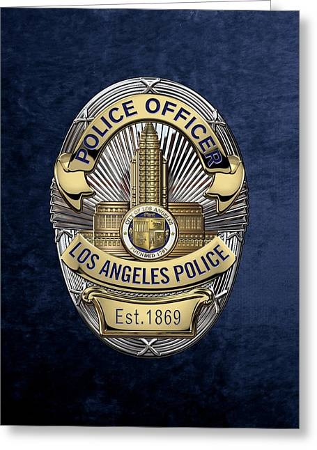 Los Angeles Police Department  -  L A P D  Police Officer Badge Over Blue Velvet Greeting Card by Serge Averbukh