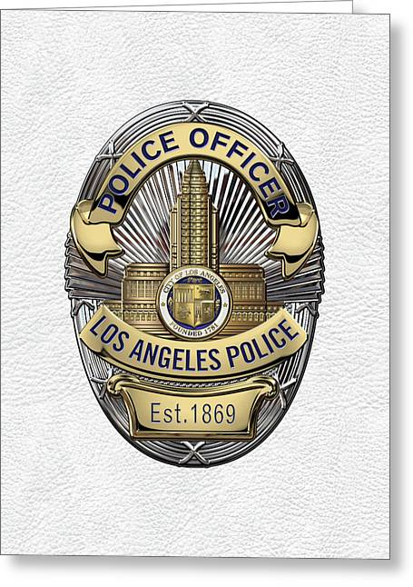 Los Angeles Police Department  -  L A P D  Police Officer Badge Over White Leather Greeting Card by Serge Averbukh