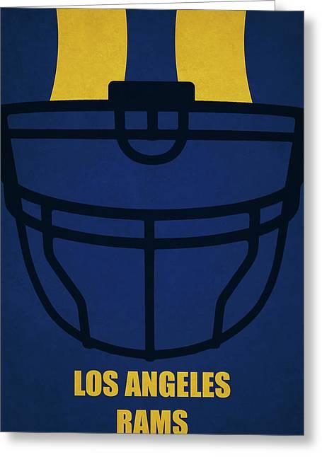 Los Angeles Rams Helmet Art Greeting Card by Joe Hamilton