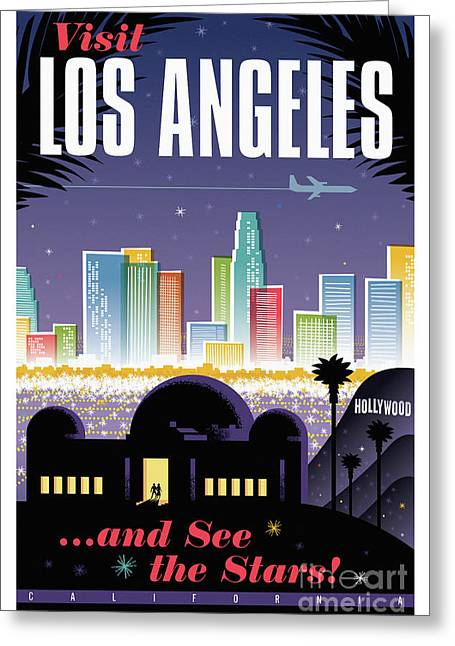 Los Angeles Retro Travel Poster Greeting Card by Jim Zahniser
