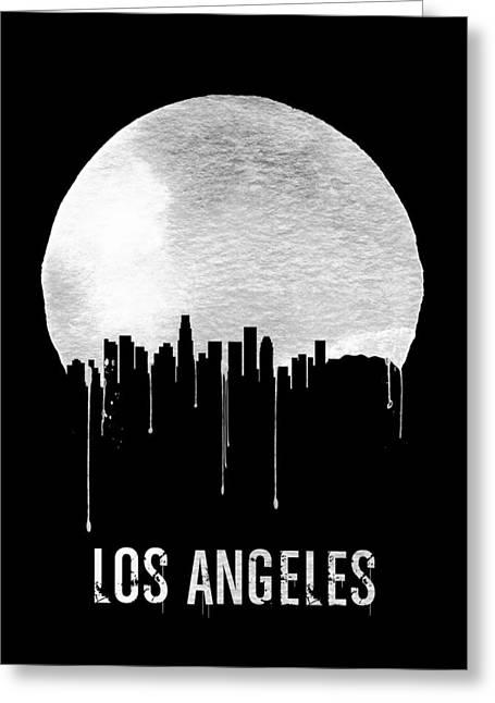 Los Angeles Skyline Black Greeting Card by Naxart Studio