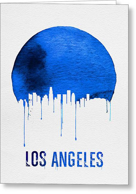 Los Angeles Skyline Blue Greeting Card by Naxart Studio