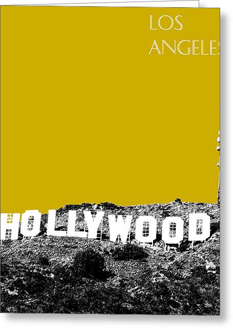 Pen Greeting Cards - Los Angeles Skyline Hollywood - Gold Greeting Card by DB Artist