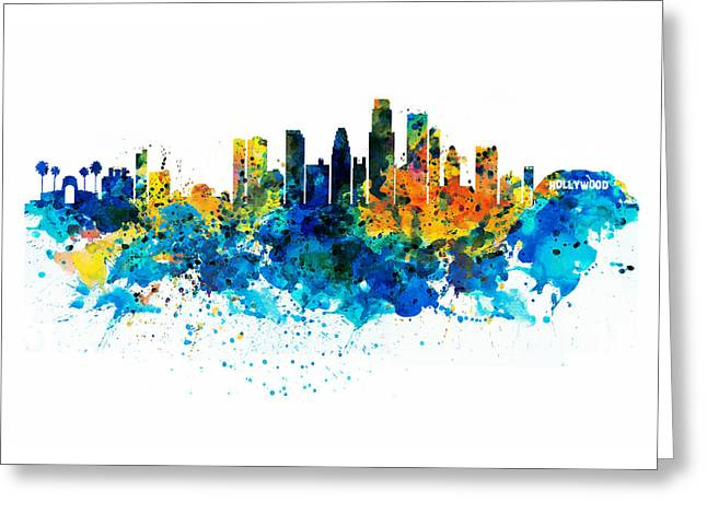 Los Angeles Skyline Greeting Card by Marian Voicu