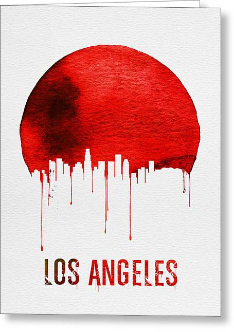 Los Angeles Skyline Red Greeting Card by Naxart Studio