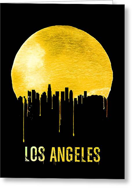 Los Angeles Skyline Yellow Greeting Card by Naxart Studio