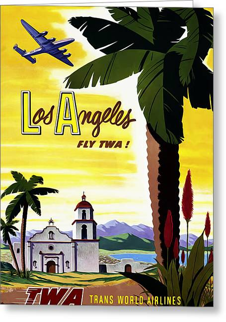 Aeroplane Greeting Cards - Los Angeles TWA Greeting Card by Mark Rogan