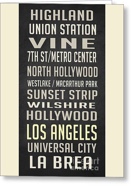 Los Angeles Vintage Places Poster Greeting Card by Edward Fielding
