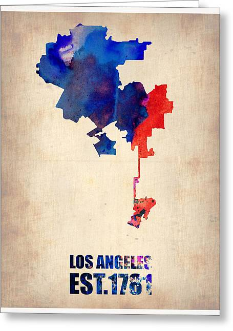 Contemporary Poster Greeting Cards - Los Angeles Watercolor Map 1 Greeting Card by Naxart Studio