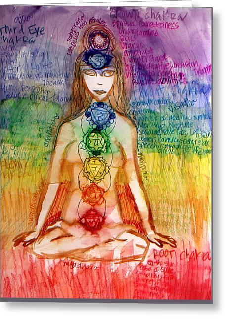 Chakra Rainbow Greeting Cards - Los Chakras Greeting Card by Brianna Stehle