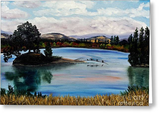 Impressionist Creek Oil Paintings Greeting Cards - Los Gatos Lake Greeting Card by Laura Iverson