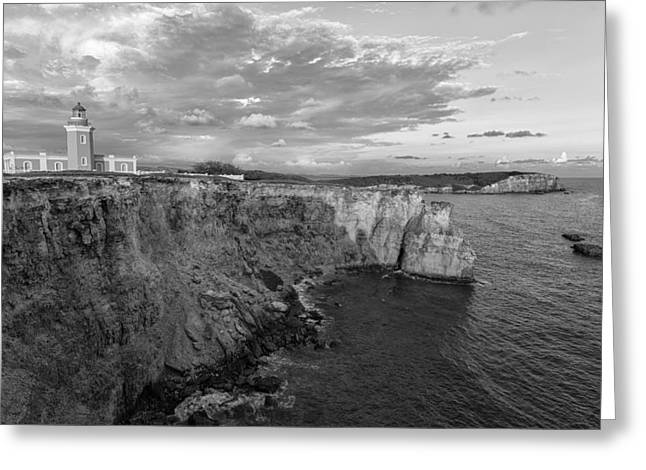 Los Morrillos Lighthouse In Black And White Greeting Card by Andres Leon