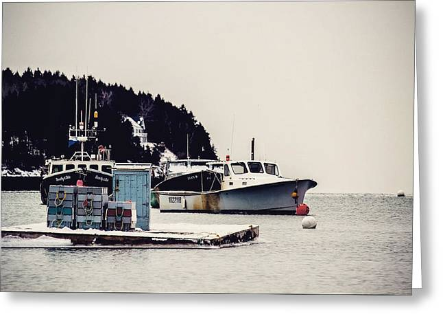 Vacationland Greeting Cards - Lobster Boats at Slip Greeting Card by Victory  Designs
