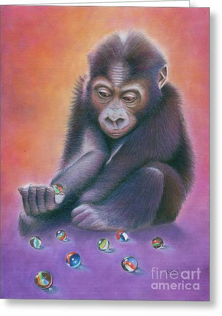 Gorilla Drawings Greeting Cards - Losing My Marbles Greeting Card by Karen Hull