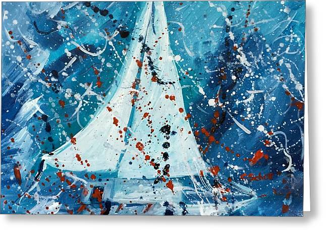 Recently Sold -  - Blue Sailboat Greeting Cards - Lost At Sea #2 Greeting Card by Christina Schott