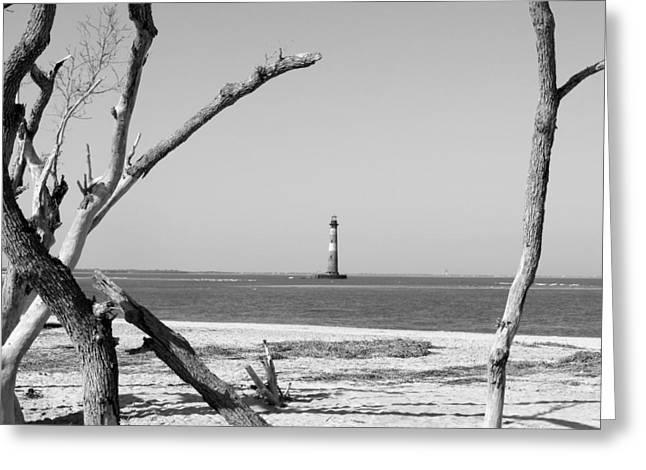 Lost At Sea...morris Island Lighthouse Greeting Card by Elena Tudor