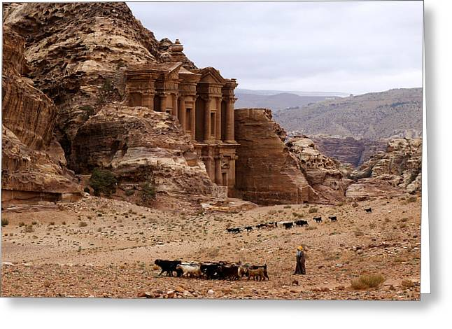 Lost City Of Petra Greeting Card by Scott Brindle